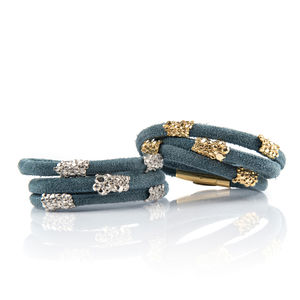 Blue Suede Wrap Bracelet With Gold Sliders
