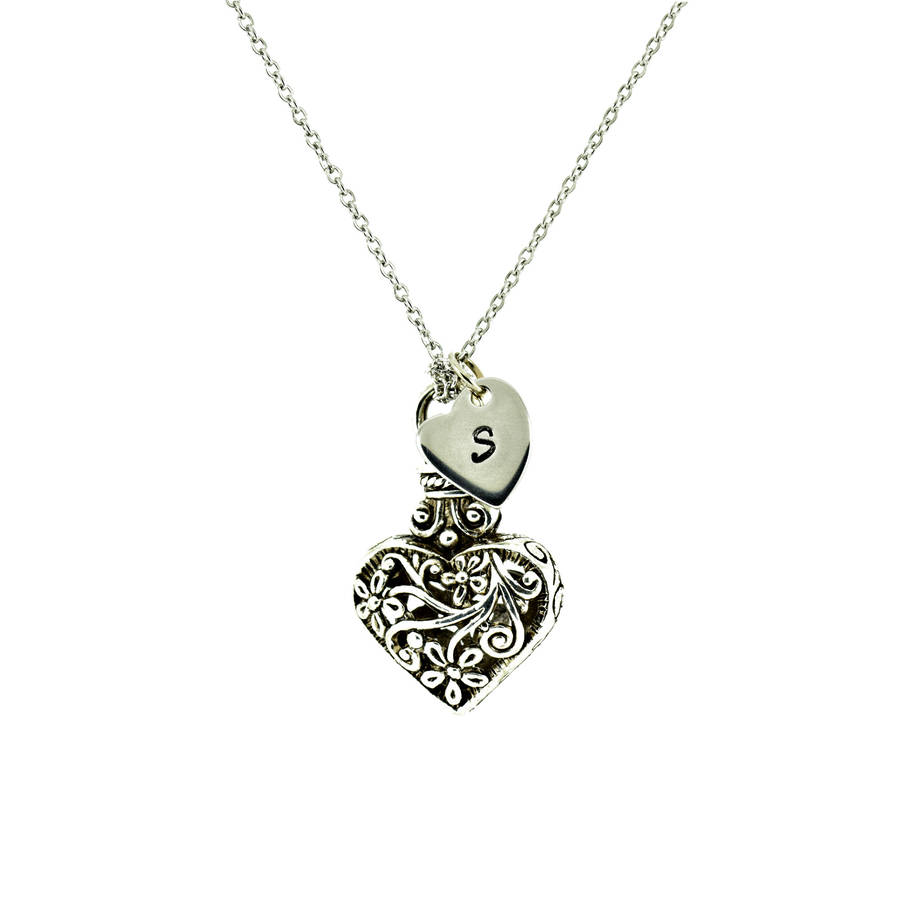 Antique silver heart pendant by dose of rose notonthehighstreet antique silver heart pendant aloadofball