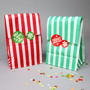 Christmas Sweet Bags And Festive Stickers - wrapping
