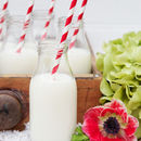 Set Of Three Retro Milk Bottles With Straws