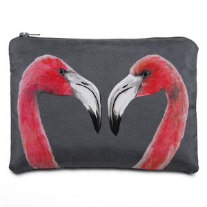 Flamingos Printed Silk Zipped Pouch - make-up bags