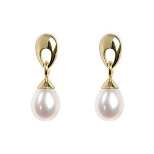 Loop Top 9ct Yellow Gold Pearl Drop Earrings - earrings