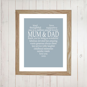 Personalised Mum And Dad Heart Print - posters & prints
