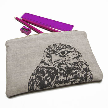 Hand Printed Owl Zipped Pouch