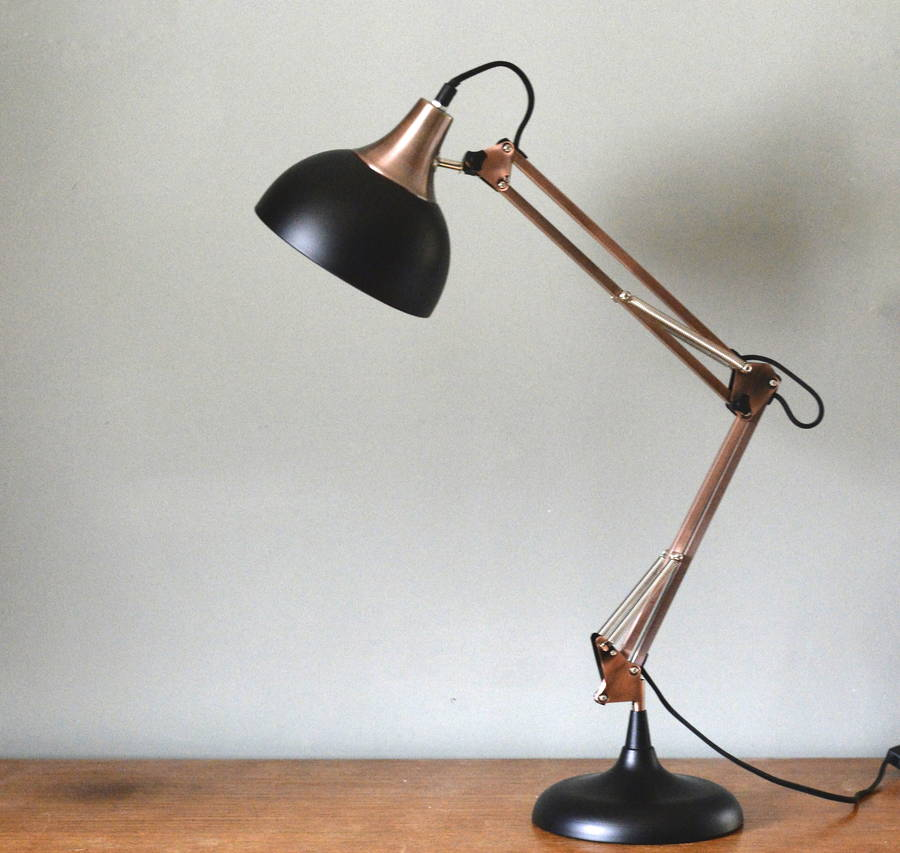 copper and black desk lamp by the forest & co | notonthehighstreet.com