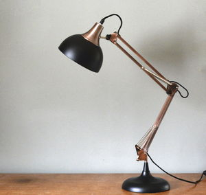 Large Copper And Black Desk Lamp - lighting