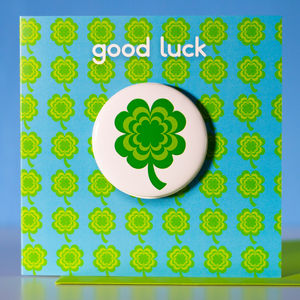 Good Luck Card With Clover Leaf Badge - view all sale items