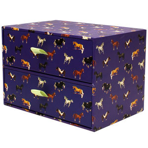 Purple Horses Two Drawer Storage Box - children's jewellery