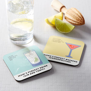 Gin And Tonic Drinks Coaster Personalised