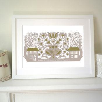 Warm Grey in white frame