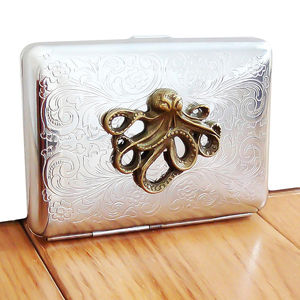 Octopus Cigarette Case Or Silver Card Case - wallets & money clips