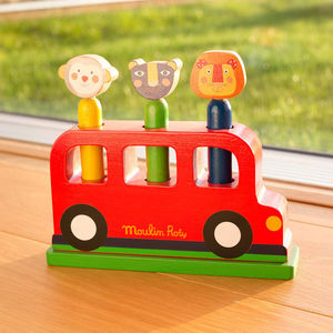 Wooden Pop Up Bus Toy - toys & games