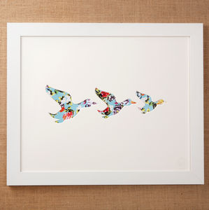 Large Framed Flying Geese Artwork - animals & wildlife