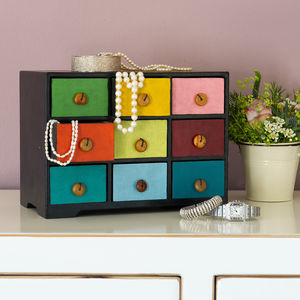 Multicoloured Nine Drawer Jewellery Box