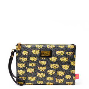 Illustrated Leopard Print Clutch Bag