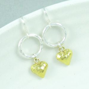 Forever Hammered Gold Heart And Silver Hoop Earrings - earrings