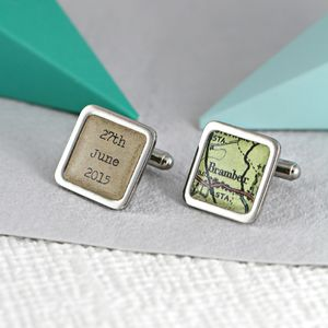 Personalised Vintage Map Message Cufflinks - cufflinks