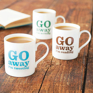 'Go Away…' Bone China Mug - men at play