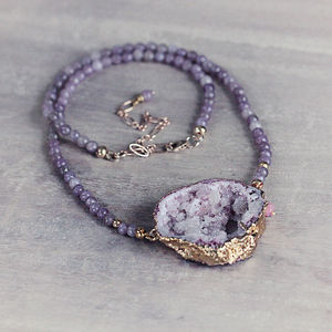 Druzy And Jade Necklace - gifts for her