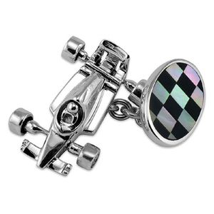 Silver Racing Car Cufflinks With Chequered Oval