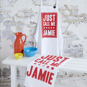 'Just Call Me Jamie' Chef Apron And Tea Towel Set