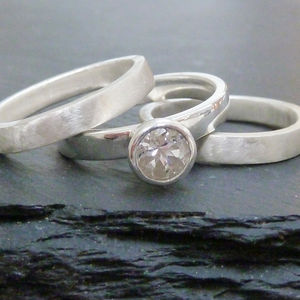 Silver Stacking Engagement Ring Set With White Topaz - engagement rings