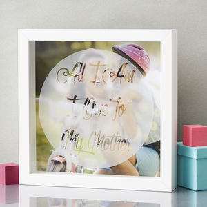 Mothers Day Personalised Etched Framed Print - mother's day gifts