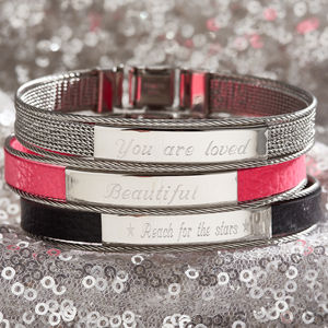 Personalised Ladies Leather And Steel Identity Bracelet