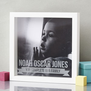 Personalised Baby Etched Framed Print - picture frames