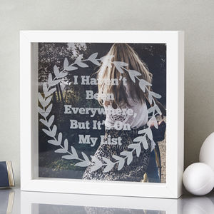 Personalised Laurel Etched Framed Print - mixed media & collage