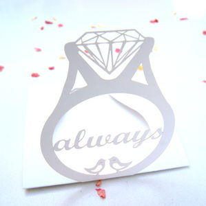 Engagement Card Laser Cut Ring Pop Up Card - wedding cards & wrap