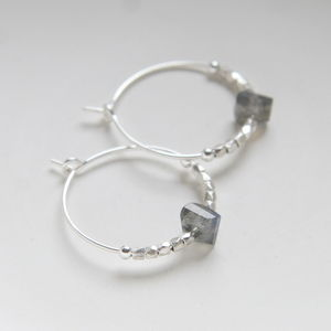 Sterling Silver And Labradorite Hoops - 40th birthday gifts