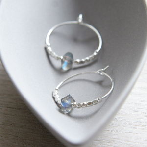 Sterling Silver And Labradorite Hoops - women's jewellery