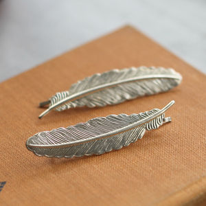 Silver Feather Hair Grips - head pieces