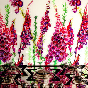 Foxglove Patterned Glass Splashback - bathroom