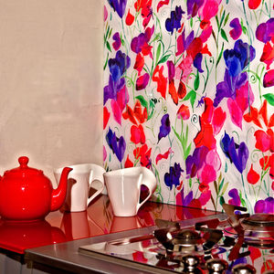Sweetpea Patterned Glass Splashback - tiles & tile stickers