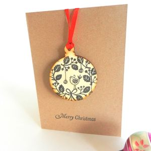 Hand Printed Christmas Wooden Decoration Card