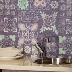 Pastel Lace In Grey Patterned Glass Splashback - tiles & tile stickers