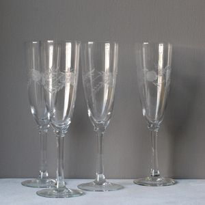 Set Of Four Etched Champagne Glasses - new home gifts
