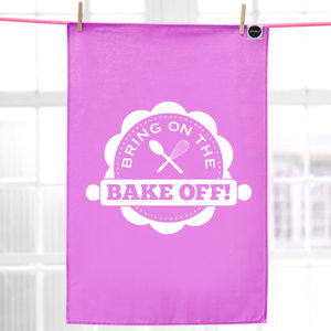 'Bring On The Bake Off' Tea Towel, Pink - kitchen accessories