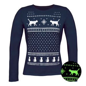 Glow In The Dark Christmas Cats Long Sleeve T Shirt - christmas jumpers