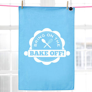 'Bring On The Bake Off' Tea Towel, Blue Teal - kitchen accessories