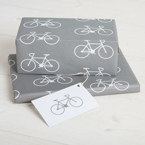 Pack Of Two Bike Wrapping Paper And Gift Tags - ribbon & wrap