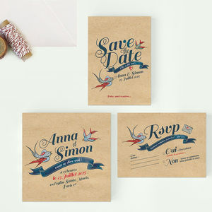 Personalised Tattoo Wedding Stationery - save the date cards