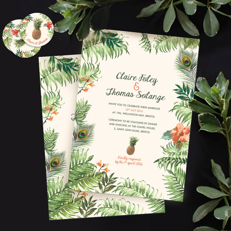 Tropical Jungle Wedding Invitation By Pepper Amp Joy