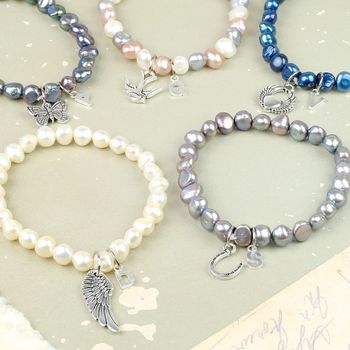 Charmed Pearl Bracelet With Silver Initial