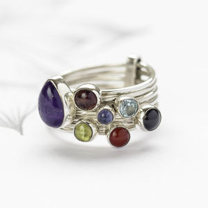 Semi Precious Stone Stacking Ring - rings