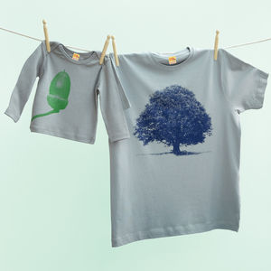 Oak And Acorn T Shirt Set Blue And Green Version - babies' dad & me sets