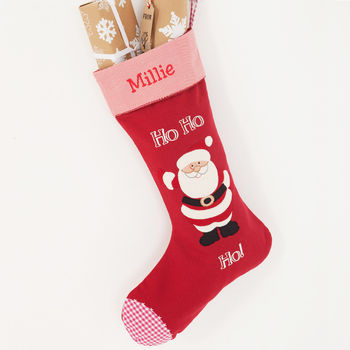 New Ho Ho Ho stocking with embroidered name