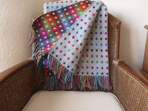 Merino Polka Dot/Check Throws And Cushions - throws, blankets & fabric